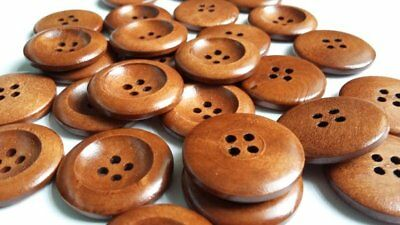 25pcs Wooden Brown Round Sewing Buttons 4 Hole 25mm Scrapbook Crafts B21317