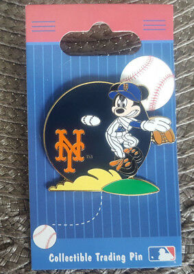 Walt Disney World Pin New York Mets Mickey Mouse Baseball Pitcher New On Card OE