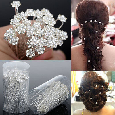 40PCS Wedding Hair Pins Crystal Pearl Flower Bridal Hairpins Hair AccessoriesBIN