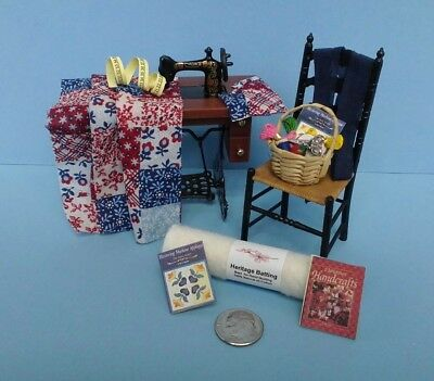 Dollhouse Miniature Quilt in Progress Handcrafted wih Chair & Accessories 1:12