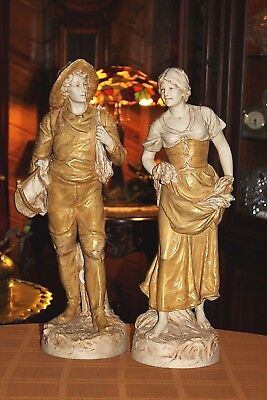 "Impressive Antique Royal Dux Czechoslovakia Large 21"" Porcelain Statue Pair"