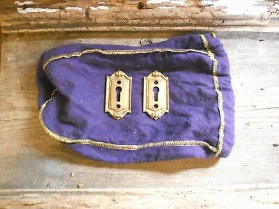 VTG 2 VICTORIAN FANCY CAST BRASS Door Lock Skeleton KEY HOLE COVER Back Plates
