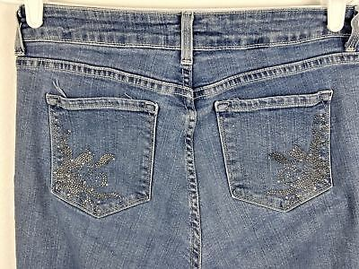 NYDJ Not Your Daughters Jeans Womens Size 6P Lift Tuck Tech Stretch Rhinestones