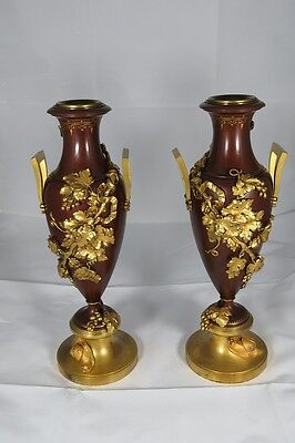 Pair Of Very Fine French Ormolu And Patinated Bronze Two Handled Vases