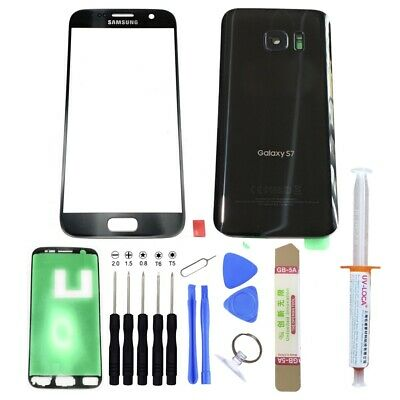 Samsung Galaxy S7 G930 -OEM Black- Front Back Glass Lens Screen Replacement Kit