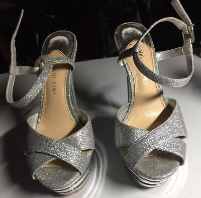 02f33825545 Gianni Bini Women s Silver Crystal Strappy Stiletto Heels 6.5 M Dancer  Holiday
