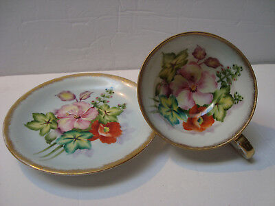 HAND PAINTED Teacup & Saucer - Bouquet of Hibiscus & Poppies - Shafford Japan