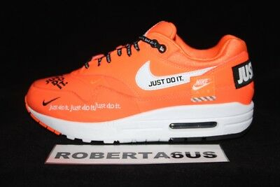save off 4593a edd14 Nike Air Max 1 LX Just Do It Total Orange White Women 917691 800 Size 6