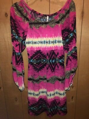 The Hanger Fushia Pink & Teal Aztec Boho Bell Sleeves Dress Boutique Small NWT