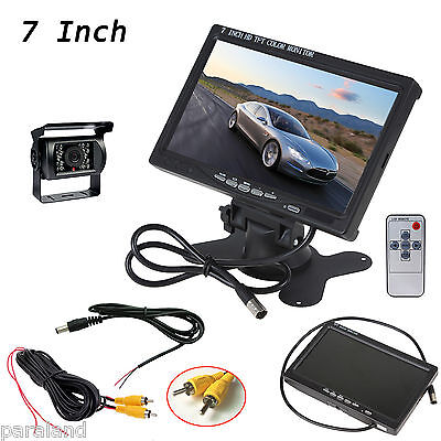 """HD 7"""" TFT LCD Car RearView Monitor Backup+Reverse Camera System For RV Truck Bus"""