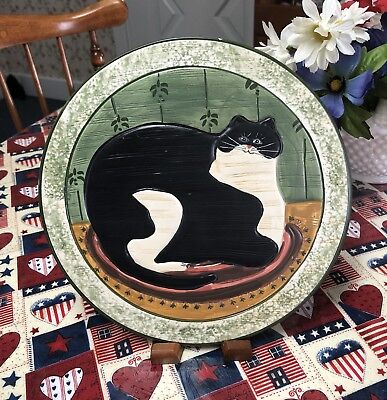 Vintage Sakura Warren Kimble- Hand Painted Fat Cat- Wall Plate