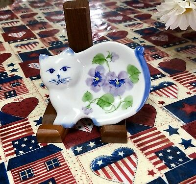 Porcelain Pansies -Cat Tea Bag Holder Or Dish