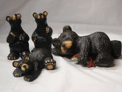 Black Bear Family Poly-Resin Statues/Figurines Home Decor - 4 pc set
