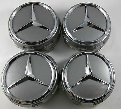 4PC FIT FOR Mercedes Benz Wheel Raised Center Caps Dark Grey Silver Hubcaps 75MM
