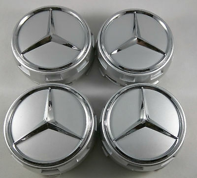 4PC FIT FOR Mercedes Benz Wheel Raised Center Caps Silver + Chrome Hubcaps 75MM