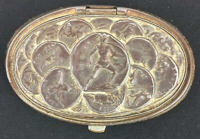 Leather Antique Coin Purse with Ancient Greek Coin Motif Metal Lid Rare