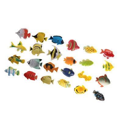 24x Plastic Tropical Angel Fish Sea Animals Small Figure Toy Ocean Creatures