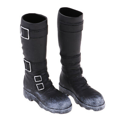 1/6 Scale Male Fashion Black Mid-calf Knee Boots for 12'' Phicen Hot Doll