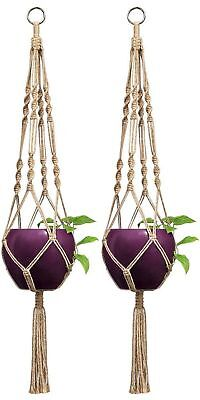 Mkono 2 Pcs Macrame Plant Hanger Indoor Outdoor Hanging Planter Basket Jute R...