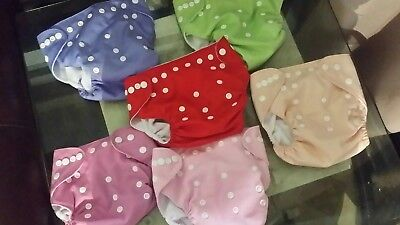LBB Baby Cloth Pocket Diapers with Snaps Lot of 6 covers and inserts one size