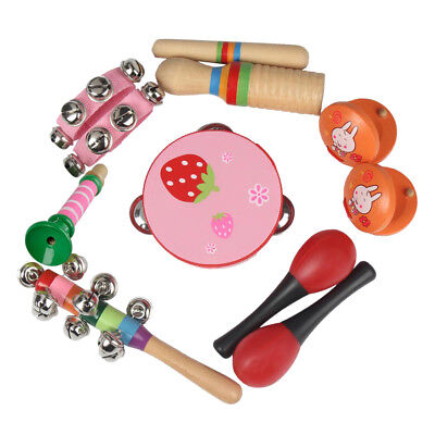 Musical Instrument Set Kit 7 Kinds Tambourine Drum Percussion Toys for Kids