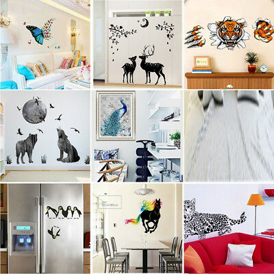Cute Single Animal Fridge Wall Window Stickers Kids Nursery Decor Art Wall Decal