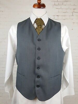 Vtg Mens Single Breast Grey High Fit Polyester Smart Waistcoat -42- EQ12