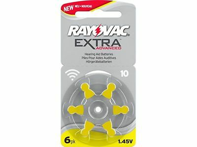 Rayovac Extra Size 10 Yellow Hearing Aid Batteries 6 pieces