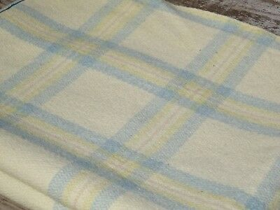 "Vintage Welsh Wool Check Blanket / Throw - Pale Blue & Cream 79"" x 65"""
