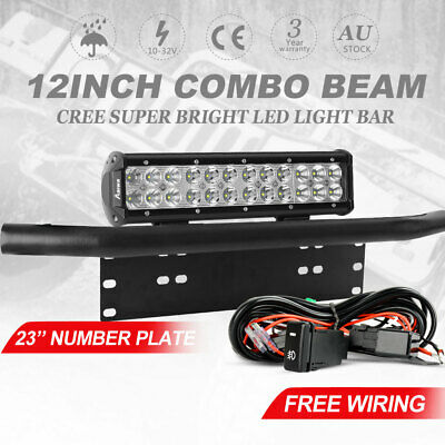 12 inch CREE FLOOD SPOT LED Light Bar + 23 inch Number Plate Frame Mount Bracket