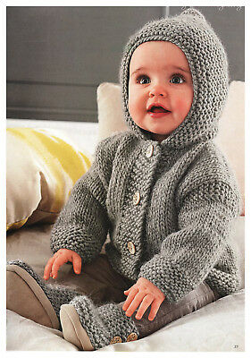 KNITTING Pattern-  Easy Baby Jacket with Hood 3 - 24 mths - Chunky Wool