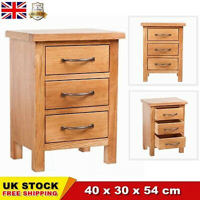 Oak Wooden Bedroom Bedside Table Nightstand With 3 Drawers Storage Durable CHIC