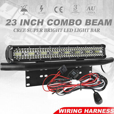 23inch Tri-row CREE LED Spot Flood Work Light Bar 20'' + 23'' Number Plate Frame