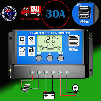 12V/24V Solar Panel Battery Regulator Charge Controller 30A PWM LCD Display USB