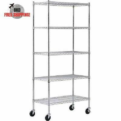 Muscle Rack 4 Wheeled Wire Commercial Shelving Unit 5 Shelves With Leveling Feet