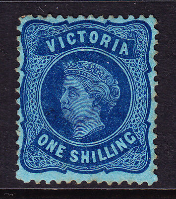 L35 Victoria 1/- Blue on Blue two hinged. Old catalogue value $125.00