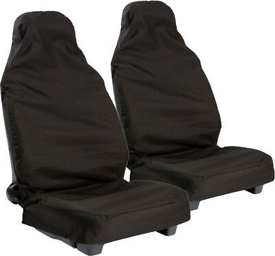 HD WATERPROOF BLACK FRONT SEAT COVERS for VAUXHALL AGILA (09-11)
