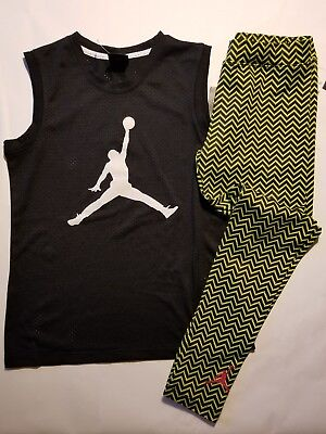 Nike Air Jordan Girls 2 PC Set Shirt Tee & Legging Outfit Size Med.