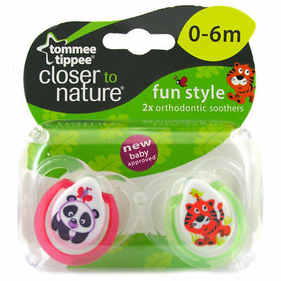 Tommee Tippee Closer to Nature Fun Style Soothers 0-6m Panda/Tiger - 433357