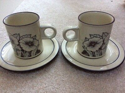 Two Vintage Hornsea Corn Rose Coffee Cups & Saucers - Vgc
