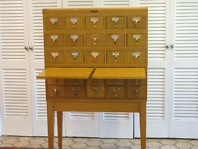 Gaylord Brothers Vintage 25 Drawer Library Card Catalog Cabinet On Stand 1950's