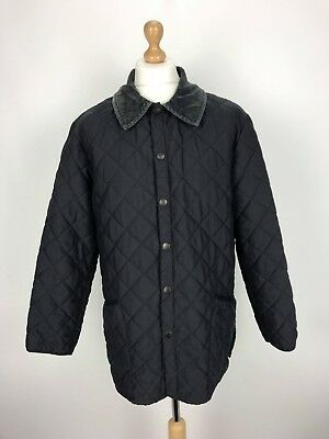 Barbour Mens Lined Liddesdale Quilted Country Jacket Coat Large L Blue