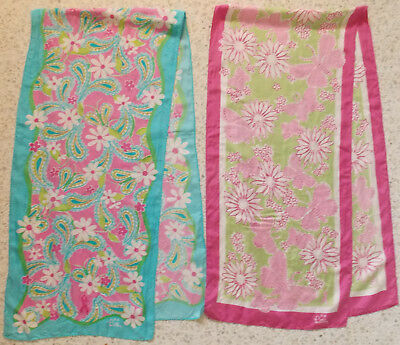 """Lilly Pulitzer Scarf Lot of 2 Silk 57"""" x 13"""" Flowers Butterflies Breast Cancer"""