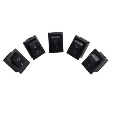 5 Pcs Mini Black On/Off Rocker Switch Rectangle Rocker Switch Black 2 Pin SPST
