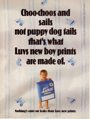 1991 Luvs Deluxe Diapers For Boys New Prints Choo-Choos 1 Page Vintage Print Ad
