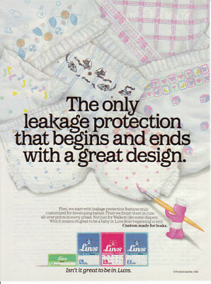 1992 Luvs Phases Diapers For Boys For Girls Prints Walker 1Page Vintage Print Ad