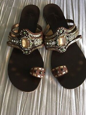 65c88a6fd7b7 Giuseppe Zanotti jeweled flat sandals 39 1 2 brown leather w toe ring bling
