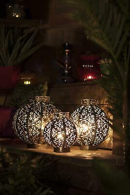 Moroccan Outdoor Garden Lantern Candle Holder Silver Distressed Metal and Glass