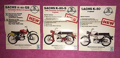 SACHS Flyers 3 Lot Of Double Sided Ads Vibtage K 80 50 GS S Motorcycle