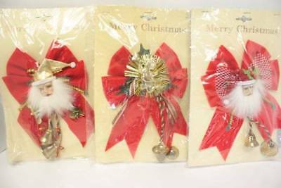 Vintage Christmas Package Decorations Santa Bells Violin Red Velvet Bow Lot 3